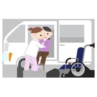 移乗介助のイラスト(中年女性)