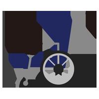 横向きの車椅子のイラスト(青色)