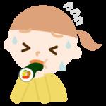 恵方巻きを食べる女の子のイラスト(苦しい)
