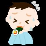 恵方巻きを食べる男の子のイラスト(苦しい)
