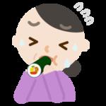 中年の女性が恵方巻きを食べるイラスト(苦しい)