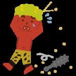 豆まきで退治される赤鬼のイラスト
