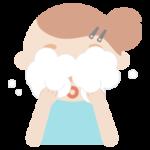 洗顔をする若い女性のイラスト
