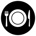 料理のアイコンイラスト(白黒・丸)