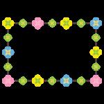 マルチカラーの花のフレームイラスト