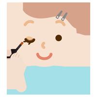 アイシャドウをする女性のイラスト