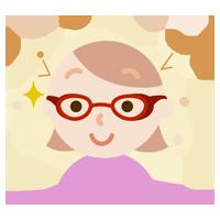 花粉対策メガネをした若い女性のイラスト