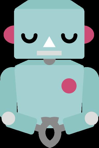お辞儀をするロボットのバストアップのイラスト