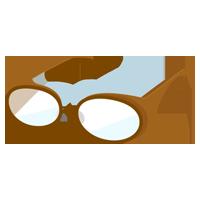 花粉症用のメガネのイラスト(茶)