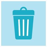 ゴミ箱のアイコンイラスト(丸)