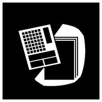 新聞紙・古紙のゴミのアイコンイラスト(白黒)