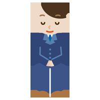 お辞儀をする社会人の男性のイラスト