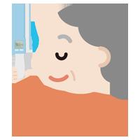 体温を測る高齢者の女性のイラスト(非接触型体温計)