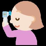 体温を測る若い女性のイラスト(非接触型体温計)