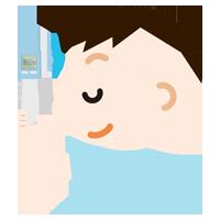 体温を測る男の子のイラスト(非接触型体温計)