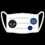 マスクに菌がついているイラスト