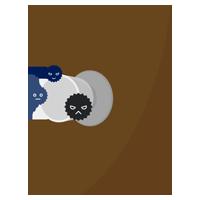 ドアノブに雑菌がついているイラスト