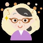 花粉対策メガネをした中年の女性のイラスト