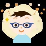 花粉対策メガネをした男の子のイラスト