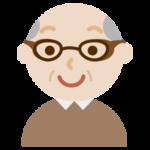 花粉症用の眼鏡をした高齢者の男性のイラスト