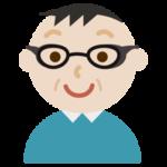 花粉症用の眼鏡をした中年の男性のイラスト