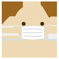 マスクをした犬のイラスト(アップ1)