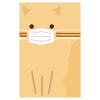 お座りをするマスクをした猫のイラスト1