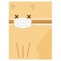 お座りをするマスクをした猫のイラスト2