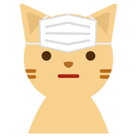 マスクの装着を失敗した猫のイラスト