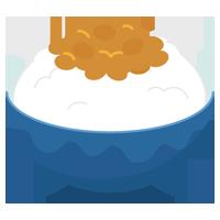 ご飯に乗った納豆のイラスト1