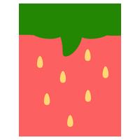 ピンク色のいちごのイラスト