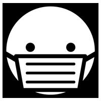 マスクをした人の顔のアイコンイラスト(真顔・白黒)