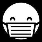 マスクをした人の顔のアイコンイラスト(笑顔・白黒)