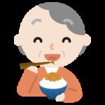 納豆を食べる高齢者の女性のイラスト