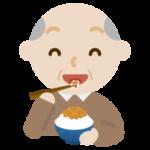 納豆を食べる高齢者の男性のイラスト