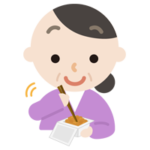 納豆を練る中年の女性のイラスト