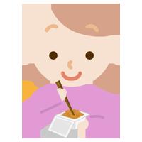 納豆を練る若い女性のイラスト