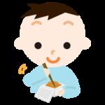 納豆を練る男の子のイラスト