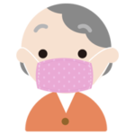 布マスクを着けた高齢者の女性のイラスト