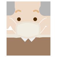 布マスクを着けた高齢者の男性のイラスト