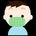 布マスクを着けた男の子のイラスト