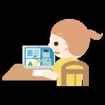 オンライン授業を受ける女の子のイラスト