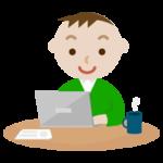 PCで仕事をする若い男性のイラスト