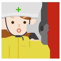 避難指示を出す女性のイラスト2