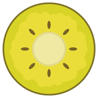 ゴールドキウイの輪切りのイラスト