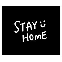 ハート「STAY HOME」アイコン(白黒)