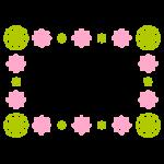 和風の花柄のフレームイラスト(桃・緑)