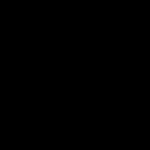 和風の花のイラスト(黒)1