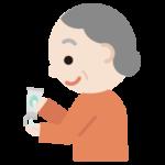 ハンドジェルを手に出す高齢者の女性のイラスト