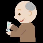 ハンドジェルを手に出す高齢者の男性のイラスト